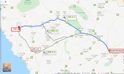Riyadh-Rail-Stationからウラーまでのマップ