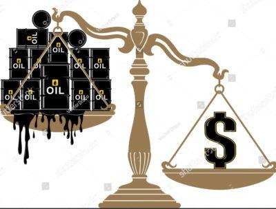 石油価格を天秤にかけているイラスト