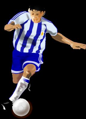 ボールをけるサッカー選手